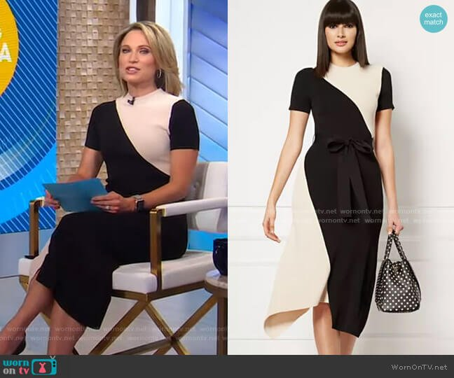 Sheena Sweater Dress - Eva Mendes Collection by New York & Company worn by Amy Robach  on Good Morning America