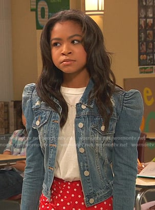 Nia's puff sleeve denim jacket on Ravens Home