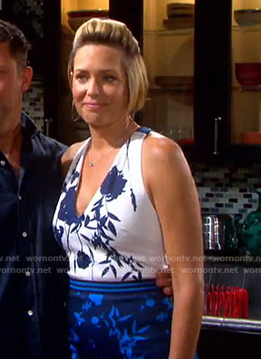 Nicole's blue floral colorblock dress on Days of our Lives
