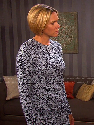 Nicole's blue leopard ruched dress on Days of our Lives