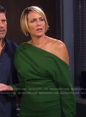 Nicole's green off-shoulder dress on Days of our Lives