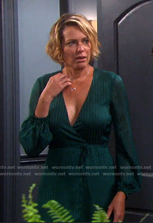 Nicole's green striped wrap dress on Days of our Lives