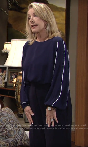 Nikki's navy blue blouse with white striped sleeves on The Young and the Restless