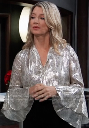 Nina's metallic floral bell sleeve blouse on General Hospital