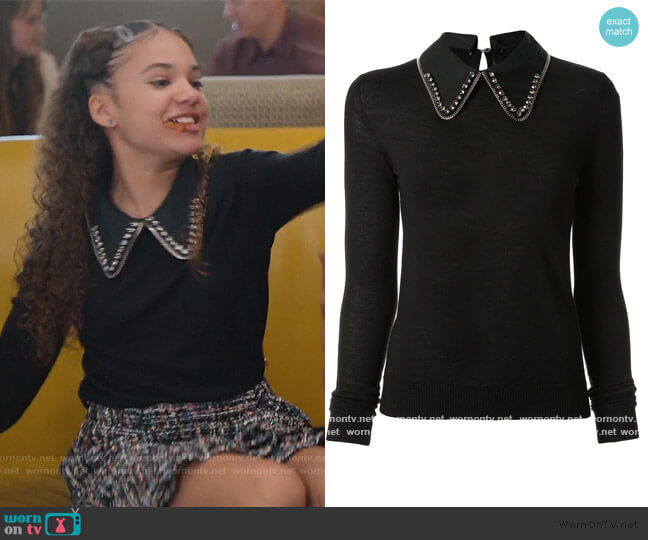 Embellished Collar Jumper by No21 worn by Izzy Barris (Scarlet Spencer) on BlackAF