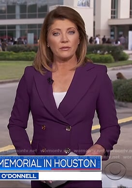 Norah's purple suit on CBS Evening News