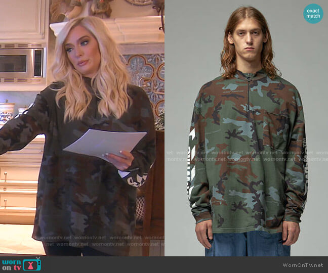 Diagonal Incompiuto Camouflage Zip Mock Neck Tee by Off-White worn by Erika Girardi  on The Real Housewives of Beverly Hills