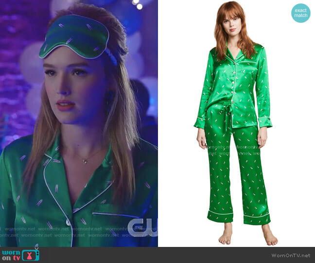 Lila Aya PJ Set by Olivia von Halle worn by Kirby Anders (Maddison Brown) on Dynasty