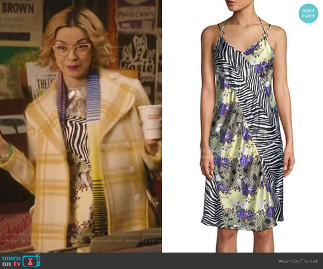 Sleeveless Floral Zebra Silk Dress by Opening Ceremony worn by Pepper Smith (Julia Chan) on Katy Keene