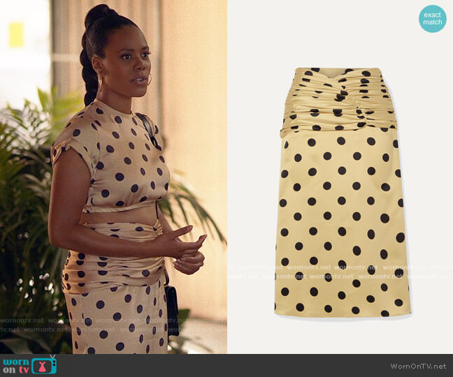 Orseund Iris Romantique ruched polka-dot satin skirt worn by Condola (Christina Elmore) on Insecure