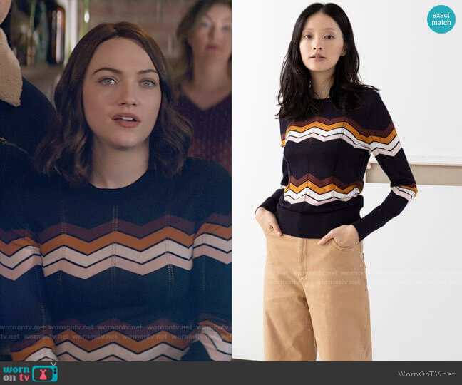 & Other Stories Zig Zag Merino Wool Sweater  worn by Cara Bloom (Violett Beane) on God Friended Me