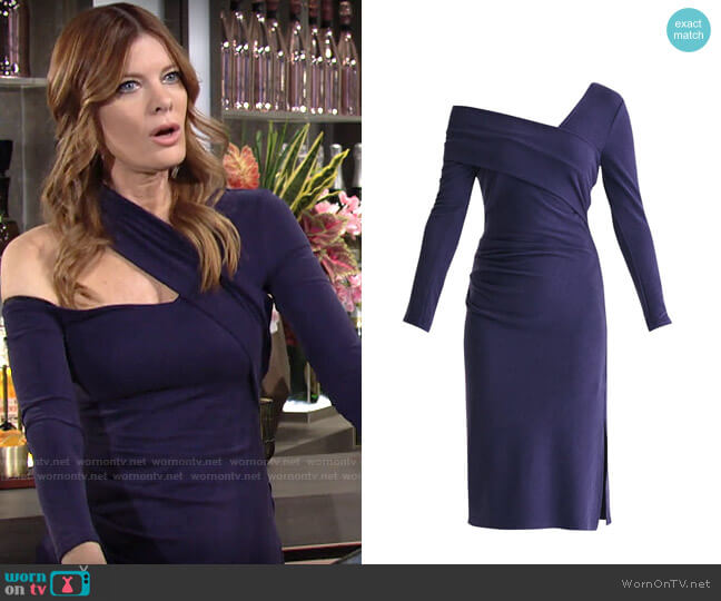 Paisie Asymmetric Bardot Dress With Side Split In Navy worn by Phyllis Summers (Michelle Stafford) on The Young & the Restless