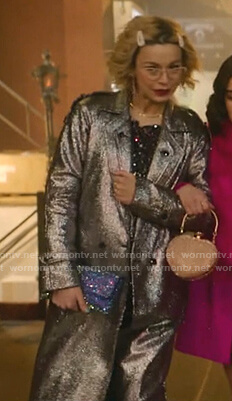 Pepper's metallic tweed coat on Katy Keene