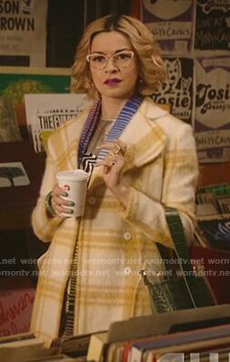 Josie's patchwork leather Shearling-Sleeve Jacket on Katy Keene