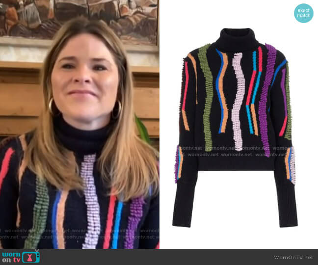 Loop Embroidered Turtleneck Jumper by Peter Pilotto worn by Jenna Bush Hager  on Today