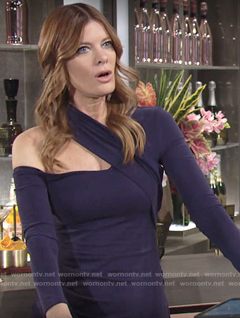 Phyllis's navy blue asymmetric neck dress on The Young and the Restless