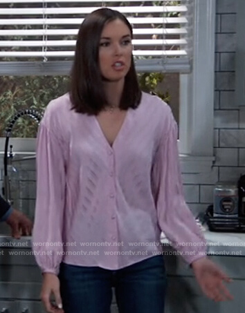 Willow's pink satin stripe blouse on General Hospital