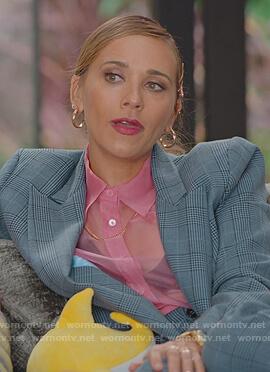 Joya's pink mesh blouse on BlackAF