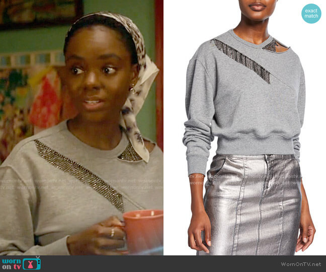 Pinko Embellished Crewneck Sweatshirt w/ Cutout worn by Josie McCoy (Ashleigh Murray) on Katy Keene