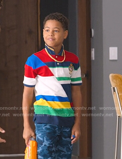Pops's multicolor colorblock polo shirt on BlackAF