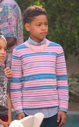 Pops's pink and blue striped top on BlackAF