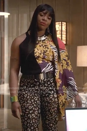 Porsha's black leopard print pants on Empire