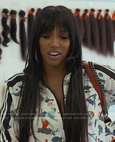 Porsha's white floral Adidas jacket on The Real Housewives of Atlanta