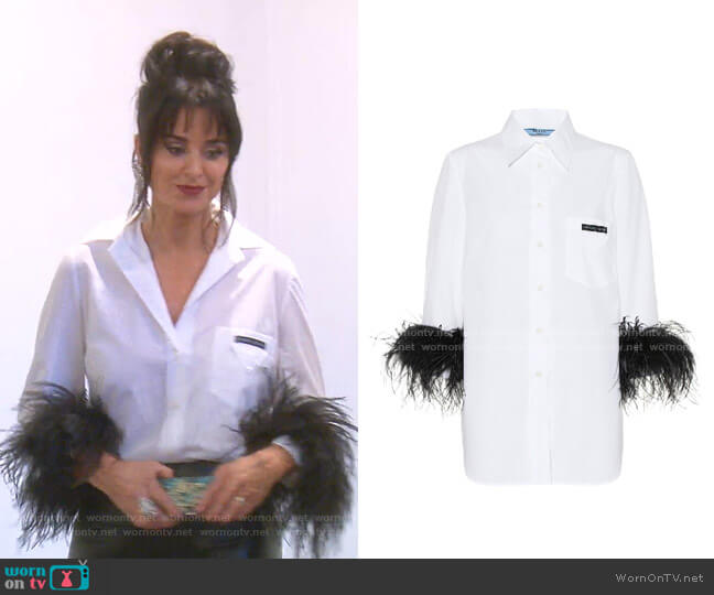 Feather-Trimmed Cotton Poplin Shirt by Prada worn by Kyle Richards  on The Real Housewives of Beverly Hills