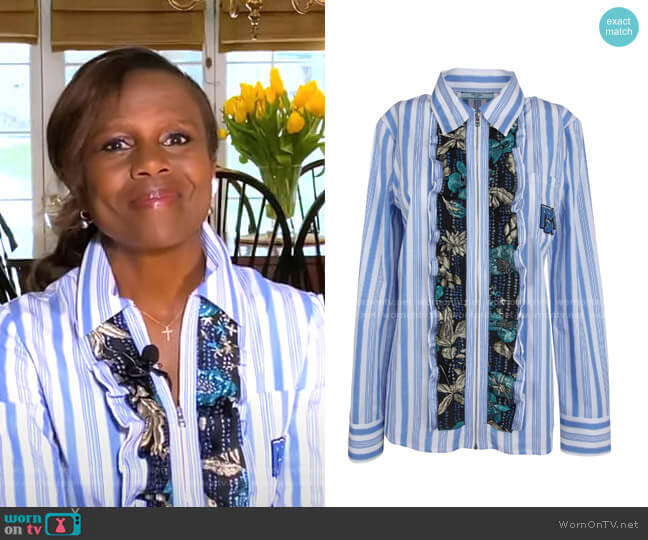 Ruffle Striped Shirt by Prada worn by Deborah Roberts  on Good Morning America