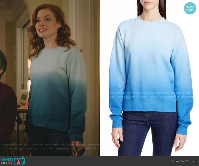 Slit Hem Ombré Sweatshirt by Proenza Schouler worn by Zoey Clarke (Jane Levy) on Zoeys Extraordinary Playlist