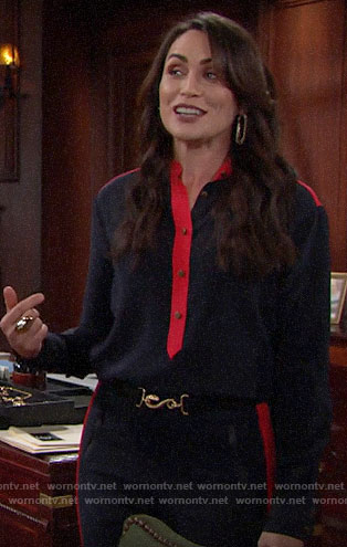 Quinn's navy and red blouse and trousers on The Bold and the Beautiful