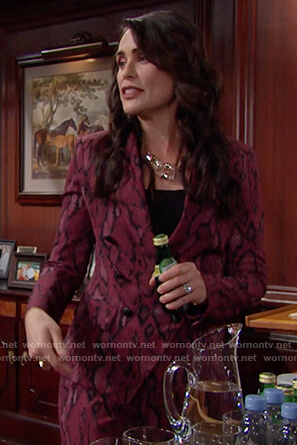 Quinn's red snakeskin print blazer and pants on The Bold and the Beautiful