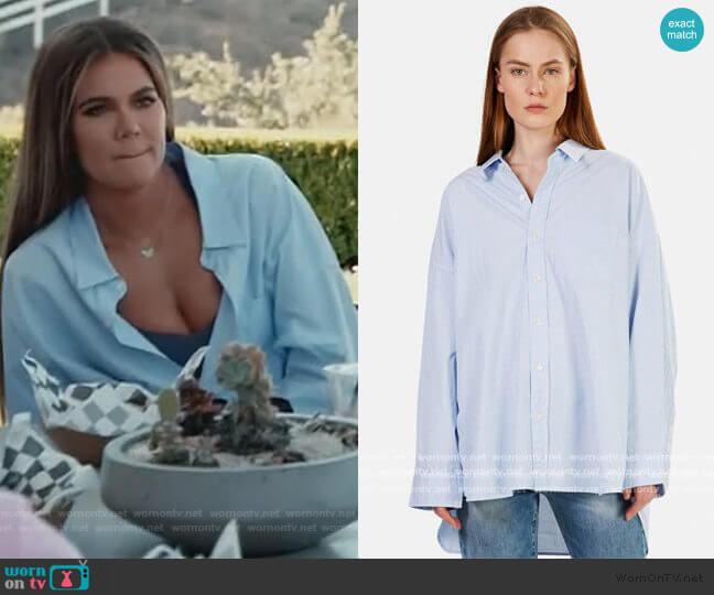 Drop Neck Oxford Shirt by R13 worn by Khloe Kardashian  on Keeping Up with the Kardashians