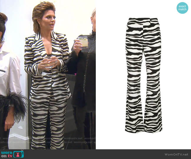 Dona Zebra Printed Trousers by Rachel Zoe worn by Lisa Rinna  on The Real Housewives of Beverly Hills