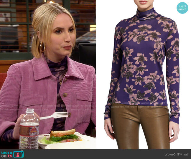 Rag & Bone Floral-Print Jersey Turtleneck worn by Mandy Baxter (Molly McCook) on Last Man Standing