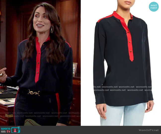 Rag & Bone Scarlet Blouse worn by Quinn Fuller (Rena Sofer) on The Bold & the Beautiful