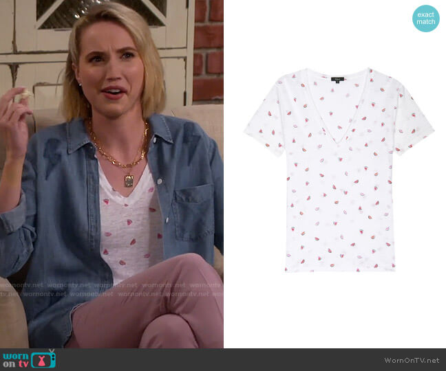 Rails Cara Tee in Watermelons worn by Mandy Baxter (Molly McCook) on Last Man Standing
