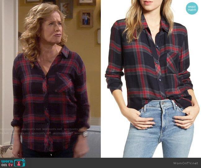 Rails Hunter Shirt in Navy Iron Currant worn by Vanessa Baxter (Nancy Travis) on Last Man Standing