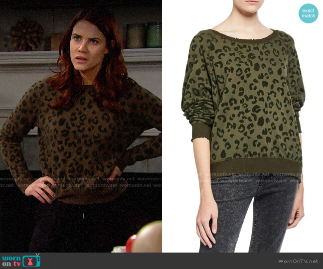 Rails Theo Leopard Sweatshirt worn by Sally Spectra (Courtney Hope) on The Bold & the Beautiful