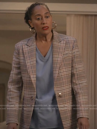 Rainbow's beige plaid blazer on Black-ish