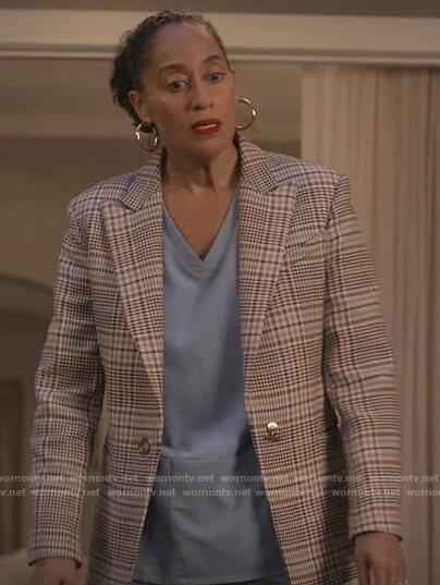 Rainbow's beige plaid blazer on Black-ish