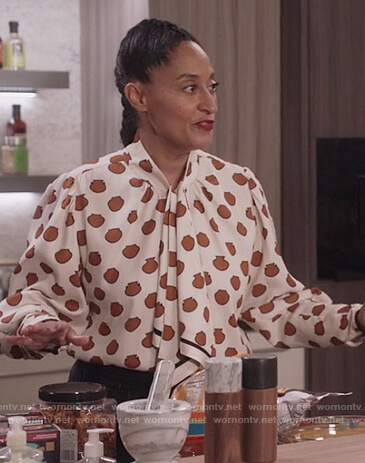 Rainbow's white printed tie neck blouse on Black-ish