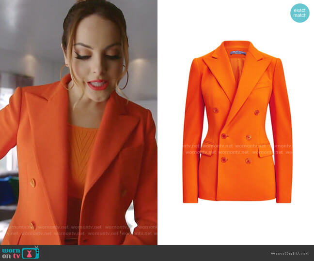Camden Double Breasted Wool-Blend Jacket by Ralph Lauren worn by Fallon Carrington (Elizabeth Gillies) on Dynasty