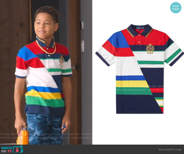 Stripe Polo by Ralph Lauren worn by Pops Barris (Justin Claiborne) on BlackAF