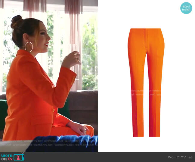 Simone Stretch-Wool Pants by Ralph Lauren worn by Fallon Carrington (Elizabeth Gillies) on Dynasty