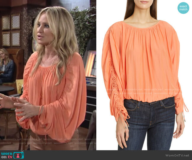 Ruched Sleeve Peasant Top by Ramy Brook worn by Sharon Collins (Sharon Case) on The Young & the Restless