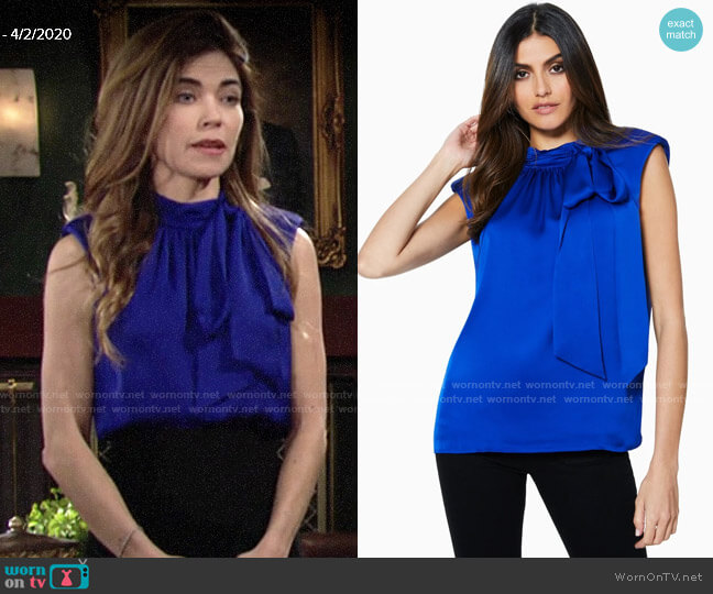 Ramy Brook Aviva Top in Cobalt worn by Victoria Newman (Amelia Heinle) on The Young & the Restless