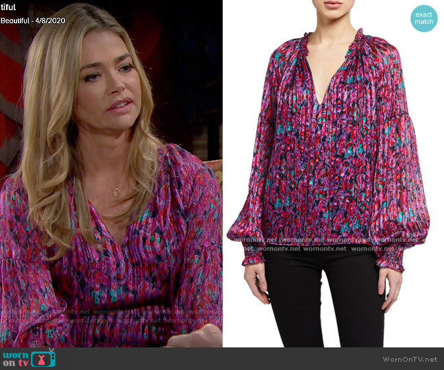 Ramy Brook Luanne Blouse in Passion Combo worn by Shauna Fulton (Denise Richards) on The Bold & the Beautiful