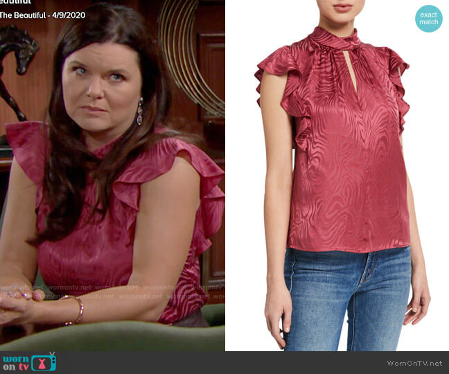 Rebecca Taylor Sleeveless Swirl Jacquard Ruffle Top worn by Katie Logan (Heather Tom) on The Bold & the Beautiful