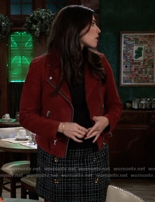 Brook Lynn's red suede moto jacket on General Hospital